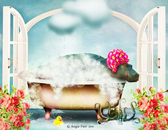 A Fairy Princess Must Always Take A Bath... (rubyblossom.) Tags: flowers cloud texture water rain clouds bath princess bubbles soak wash octopus hippo splash rubberduck rubyblossom rubystreasures rainbowworksjuly2016challenge