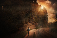 on the road (Chrisnaton) Tags: road sunset nature landscape sundown hiking backpack ontheroad eveningmood eveningcolors