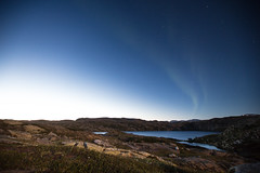 Summer northern light at midnight mid august, with full moon. (dataichi) Tags: nordland norway nature destination travel tourism outdoors scandinavia landscape mountains northern lights lahko lake night longexposure