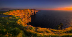 Cliffs of Moher (MartinHroch) Tags: panorama panoramic ireland landscape nature sunset cliffs cliffsofmoher coclare galwaybay illumination ocean atlanticocean coast shoreline martinhroch outdoor icon iconphoto travel meadow aillteanmhothair irishscenery print fineart