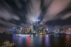 Nightscape of Shanghai City (HIKARU Pan) Tags: 1dx asia canontse17mmf4l china chinese eos1dx huangpuriver jinmaotower longexposure lujiazui photography shanghai shanghaitower shanghaiworldfinancialcenterswfc theorientalpearlradiotvtower wideangle aerialview architecture building city cityscape downtown horizontal landmark landscape night nightscape outdoors skyline skyscraper urban