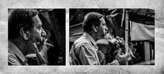 smoker (arkamitralahiri) Tags: india indian westbengal kolkata calcutta streetphotography streetscene blackandwhite monochrome noir smoker portrait male cigarette sideface diptych nikon 70300 d3100 autofocus