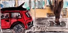 Sie hatte sich ein rotes Auto gewnscht. Da stand es. Aber sie hatte er nicht wieder gesehen (raumoberbayern) Tags: sketchbook skizzenbuch tram munich mnchen bus strasenbahn herbst winter fall pencil bleistift paper papier robbbilder stadt city landschaft landscape auto car red rot