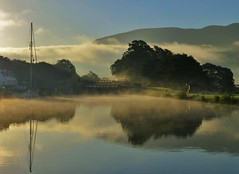 Misty Locks..x (lisa@lethen) Tags: misty lock canal boat sunrise cloud mountains trees fort william corpach