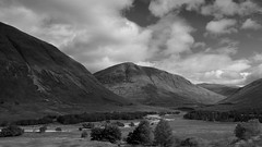 Leaving Scotland's never easy ... (lunaryuna) Tags: travel journey drive ontheroadagain voyage scotland landscape mountains valley sky clouds cloudscape bonniescotland lightmood summer season seasonalbeauty lunaryuna panoramicviews farewell blackwhite bw monochrome