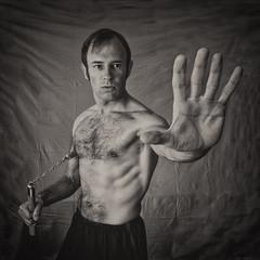 Talk to the hand (Zarako) Tags: brucelee pose portrait selfie blackwhite weapon kungfu