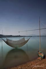 The end off day - Bin H Pleiku (V L Thun Anh) Tags: boat binhpleiku samyang12mmf20 photo sony nex6 emount fishing blue sky