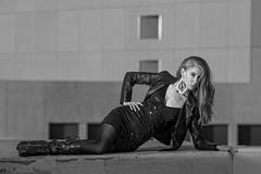 Chloe Selene at downtown Albuquerque (Mitch Tillison Photography) Tags: beautiful gorgeous amazing stunning female model legs longlegged heels boots stocking pose mono monochrome bw black white curvy nikon d750 tamron70200 mitchtillison photo photography godox strobe