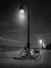 Bicycle at Honfleur (jonallsop1967) Tags: bike bicycle lamp lampost light black white