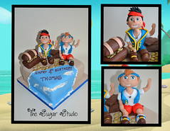 Jake and the Neverland Pirated themed Birthday cake (The Sugar Studio ni) Tags: birthday party tree boys island gold treasure desert handmade chest 4th disney palm pirate captain figure hook edible izzy gumpaste sugarpaste doubloons thesugarstudio
