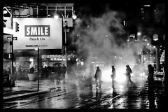 Smile (Feldore) Tags: street new york people smile poster square mono crossing smoke sony silhouettes steam billboard times slogan mchugh rx100 feldore