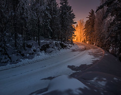 Follow the light (Mikko Lagerstedt) Tags: blue light red orange snow color green art nature colors beautiful field night suomi finland dark lens landscape photography photo nikon colorful glow view darkness natural image photos unique fineart fine award moonlight mikko waterscape lagerstedt