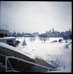 Ottawa from Gatineau (Beaulawrence) Tags: camera winter toronto ontario canada color colour building classic 120 6x6 film analog vintage river square lens toy hall fantastic lomo lomography december quebec kodak ottawa capital grain january retro plastic negative diana f gatineau roll to medium format 100 asa parliment cheap reproduction rideau ont 2012 on ektar 2013 torism sooc