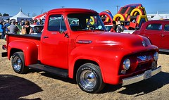 Wellton-Mohawk Tractor Rodeo: Ford F-100 about 1954? (Pat's Pics36) Tags: red arizona truck redtruck fordf100 wellton nikond7000 welltonmohawktractorrodeo nikkor18to200mmvrlens
