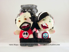 Custom Zombies - Norbie & Mimi (SWStitchery) Tags: jack keychain handmade embroidery zombie ooak felt charm plush sally ornament custom tnbc swstitchery staticwhite