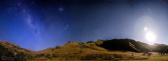 180 Night Sky Panorama (Leazwen) Tags: light shadow sky panorama moon mountain night way stars star queenstown milky 180 moonshadow milkyway nikond7000