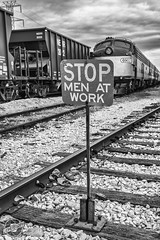 Men At Work (CJ Schmit) Tags: railroad blackandwhite bw monochrome sign museum train canon nashville engine menatwork stop tennesee trainyard tcrm canonef1740mmf40lusm 5dmarkii canon5dmarkii cjschmit wwwcjschmitcom niksilverefex2 cjschmitphotography tc6902 tncentralrailwaymuseum 6902emde8