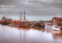 Stockton-on-Tees (Rosane Miller) Tags: orange reflection river ship riverside tees stocktonontees hmbarkendeavour