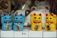 Maneki-neko in yellow and blue (Eric Flexyourhead) Tags: city blue urban detail cute yellow japan shop cat store kyoto bokeh kawaii  manekineko kansai omiyage fragment higashiyama  zd   50mmmacro20 50mmmacrof20 higashiyamaku   olympusep1 panasonicdmwma1