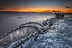 Sunset on Ice (timcorbin) Tags: longexposure winter ontario ice canon whitby leefilters