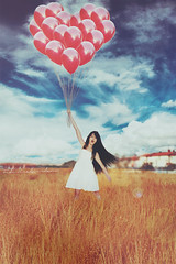 Love is in the air. (Federica.Giordano) Tags: red sky people woman white guy art love girl beautiful beauty field digital hair photography fly flying photo couple long pretty dress heart cloudy fineart digitalart fine balloon dream surreal floating levitation happiness gift surprise dreamy float saintvalentine svalentinesday flyaway saintvalentinesday svalentine federicagiordano