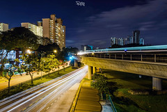 Urban Stripes (Ashley Matthew Teo) Tags: road street longexposure urban car night train evening nikon dusk railway wideangle 30s blending cartrails d7000
