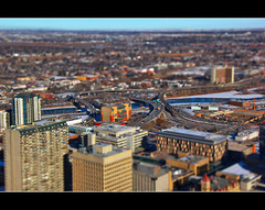 My First Tilt Shift - A Model Calgary (Explore # 78 February 16 2013) (LostMyHeadache: Absolutely Free *) Tags: winter sky urban snow cold calgary cars architecture clouds canon buildings river cityscape dof skyscrapers horizon explore vehicles vista roads distance highrises davidsmith tiltshift explored calgaryalbertacanada eos60d