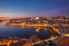 Dusk Over the Douro (Brian Hammonds) Tags: old city travel bridge pink blue light sunset shadow red urban tourism portugal beauty contrast port river photography coast photo nikon europe european photographer view sundown wine dusk dom hill sightseeing picture tourist medieval historic east adventure porto douro traveling capture peninsula oporto traveler lus iberian d600