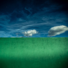 Sky Escape II (sebistaen) Tags: blue sky cloud color green wall paint flickr line 1000views 100fave sebistaen
