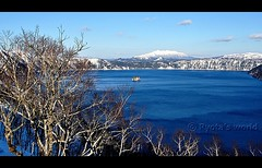 Lake Mashu Take 1. (Hokkaido, Japan) (Ryota's world) Tags: trip travel blue winter vacation sky mountain lake snow cold tree nature water japan composition landscape island japanese nikon scenery hokkaido zoom january sunny covered 100 tamron midwinter snowscape snowscene northernmost hardwinter 18270 b008 nikond90 tamron18270 18270mm tamron18270mmf3563diiivcpzd