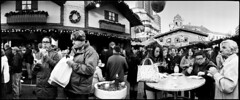 The Hungry Crowd (*monz*) Tags: blackandwhite bw panorama food film mobile bag table birmingham phone drink kodak burger trix fast 11 panoramic eat widelux swinglens munch f28 brum 20c xtol f7 26mm monz ei1600 panon 1325m