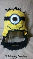 Minion Hat (manajoy creations) Tags: winter brown white black hat animal yellow kids movie children clothing eyes crafts character crochet gray hats yarn accessories braids crafting minion