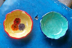 Two Small Bowls by Joyce (Chipmunk Hill Arts) Tags: original art ceramics handmade clay handpainted studentwork allages bloomingtonindiana underglazes lofire chipmunkhill earthenwre