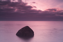 Thank Heavens (wazimu0) Tags: sunset clouds solway firth rock water sea beach long exposure pink red rays ray still calm heaven nd16 canon 1ds 50mm cloudy day
