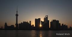 Shanghai - Pudong Skyline (Rolandito.) Tags: china morning sunrise dawn shanghai silhouettes   pudong