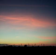 Highway Sunset (Erik [Got No Time To Grow Old]) Tags: blue sunset sky rot canon highway warm heaven sonnenuntergang dream himmel autobahn hour dunkel windrder blaue a13 traum trumen stunde 550d kraftwerke stimmig
