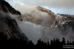 Half Dome Morning Storm (Charlotte Hamilton Gibb) Tags: california winter cliff snow storm mountains clouds landscape yosemite halfdome yosemitenationalpark yosemitevalley yosemitenp