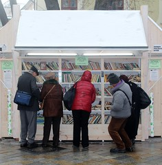 Shopping for Books in Bratislava (B-Anne-B) Tags: winter snow europe market books slovakia raining bookshelves bratislava publiclibrary browsing bookstall winterinthecity shoppingforbooks