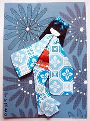ATC1143 - Rhapsody in blue (tengds) Tags: flowers blue red white atc crest geisha kimono obi darkblue papercraft japanesepaper washi ningyo handmadecard chiyogami hairbow japanesepaperdoll origamidoll japanesecrest tengds origamiwashi gummysticker