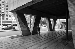 Bibliothque municipale (Chimay Bleue) Tags: black white bw monochrome architecture architect design beton brut brutalism concrete urban planning cityscape street rue tunnel passage contemporary ville contemporain architecte pspf