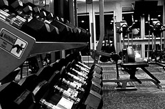 Weight Room (AntiHeroTriggus) Tags: monochrome photography muscle fitness weights blackandwhitephotography dumbbells weightroom fitnessphotography