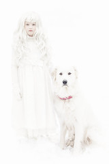 She was as white as snow (Kilkennycat) Tags: portrait dog pet white snow girl animal canon children child bright greeneyes highkey snowwhite ghostly greatpyrenees 500d kilkennycat t1i ryanconners 100mm28l