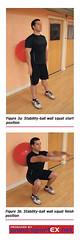 a) Stability-ball wall squat start position b) Stability-ball wall squat finish position (sportEX journals) Tags: injury massage therapy dynamics rehabilitation sportex
