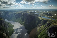 Western Brook Fjord, Gros Morne, Newfoundland. (Dru Kennedy) Tags: dru summer newfoundland photography photo parks cliffs best national western fjord brook helicopters kennedy grosmorne