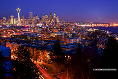 From Seattle with Salutations (TIA International Photography) Tags: road seattle county street city blue roof winter sunset shadow urban west tree rooftop silhouette skyline skyscraper port tia landscape real anne evening bay coast harbor washington long exposure downtown king cityscape mt estate natural pacific northwest harbour dusk district space landmark icon queen neighborhood mount needle hour rainier sound belltown cbd elliott puget tosin arasi tiascapes ©tiainternationalphotography