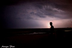 Lightning Silhouette (moniquef123) Tags: lightning silhouette nature landscape beach weather weatherphotography therebeastormabrewin thunderstorm storm dark sky