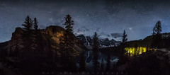 Moraine Night Pano (Bun Lee) Tags: canadianrockies landscape morainelake rockymountains alberta astrophotography banffnationalpark bunlee bunleephotography canada clouds galactic galaxy hiking lake milkyway mountain mountains nature nightskies nightscapes panorama starrynight stars universe water