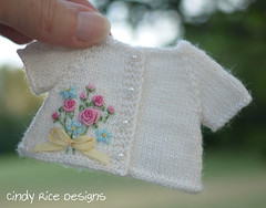 """""""Summertime Roses"""", made for Wilde Imagination's Patience. (Cindy Rice Designs) Tags: wildeimagination patience doll dress sweater cardigan embroidery knit crochet purse"""