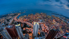 Port of Singapore Authority (Jansen Chua) Tags: light cityscape trails fisheye bluehour anson psa centralbusinessdistrict tallbuildings skysuites portofsingaporeauthority jansenchuaphotography