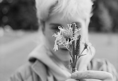 Florist Course (joshuacolephoto) Tags: ilford xp2 nikon f100 film 135 blackandwhite noir bnw flowers florist bouquet creativity jess girl bokeh bristol natural present blonde